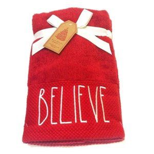 New Rae Dunn 2 Red Christmas Hand Towel
